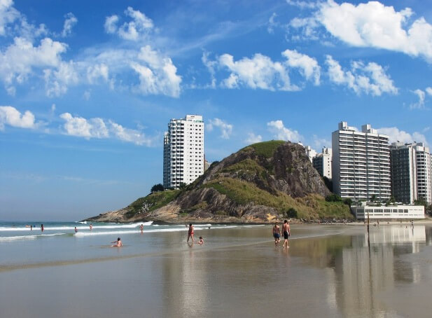 Guarujá beach in Brazil