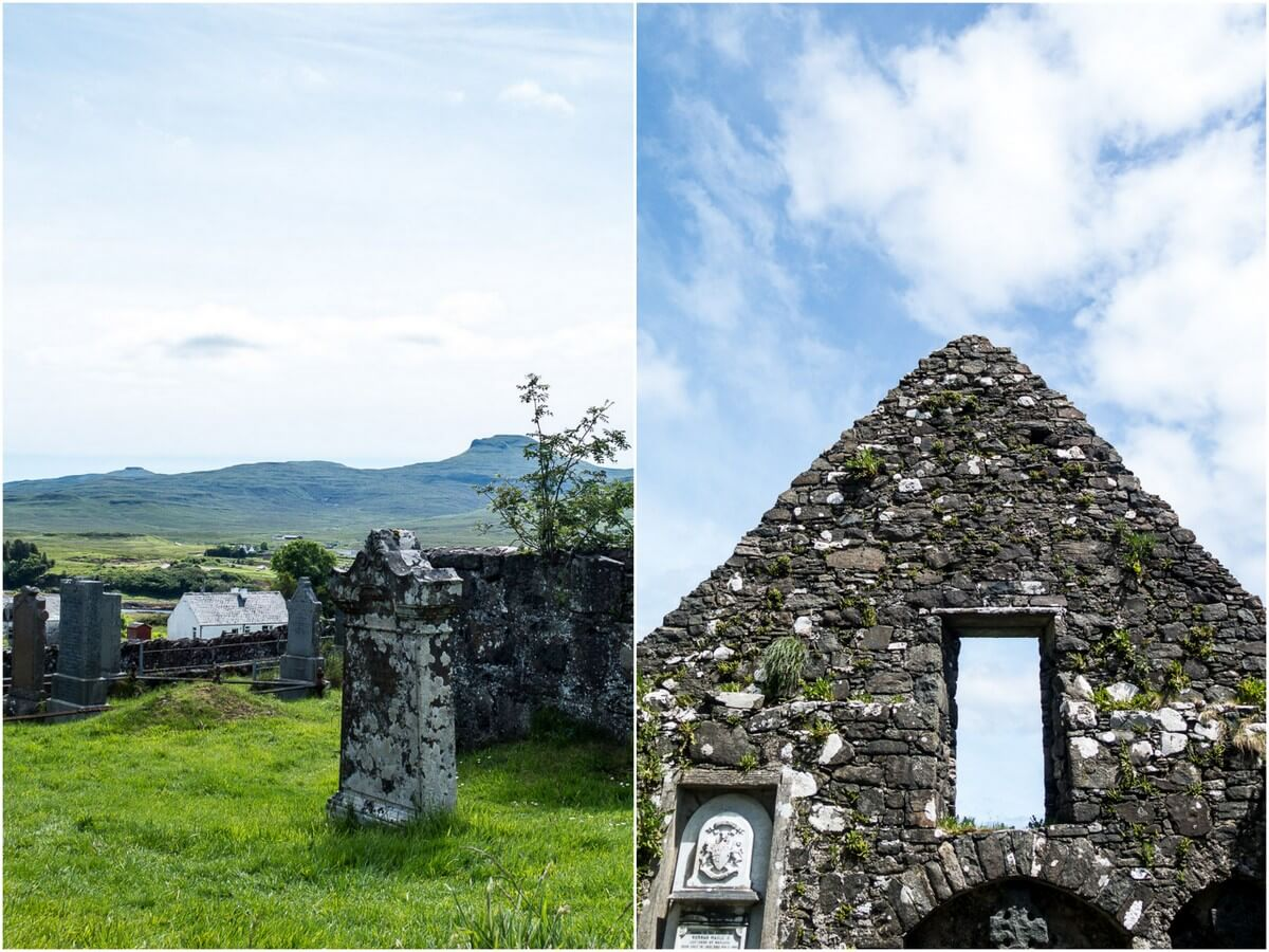 What to do on Isle of Skye: graveyard & ruins of church near Dunvegan