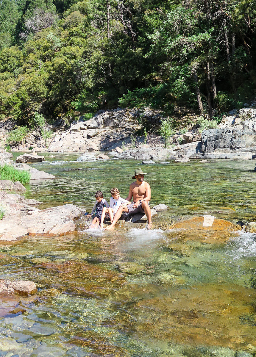 Swimming with kids Yuba River